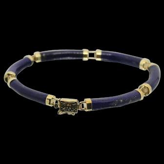 "14k Gold & Lapis Lazuli Bracelet~ 7"""