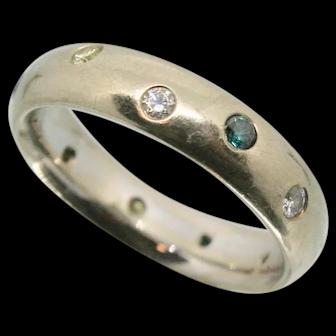 14k White Gold Colored Diamond Bezel Band~ Size 7