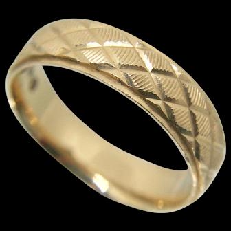14k Gold Textured Design Men's Wedding Band~ Size 10.75