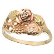 10k Black Hills Gold Rose with Leaves Ring~ Size 7