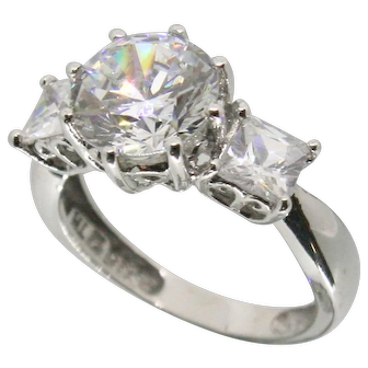 14k White Gold 2ct CZ Ring~ Size 5