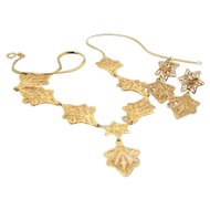 14k Gold Leaf Necklace & Earring Set