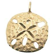 14k Gold Sand Dollar Pendant