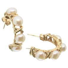 14k Gold Cultured Pearl Hoop Earrings