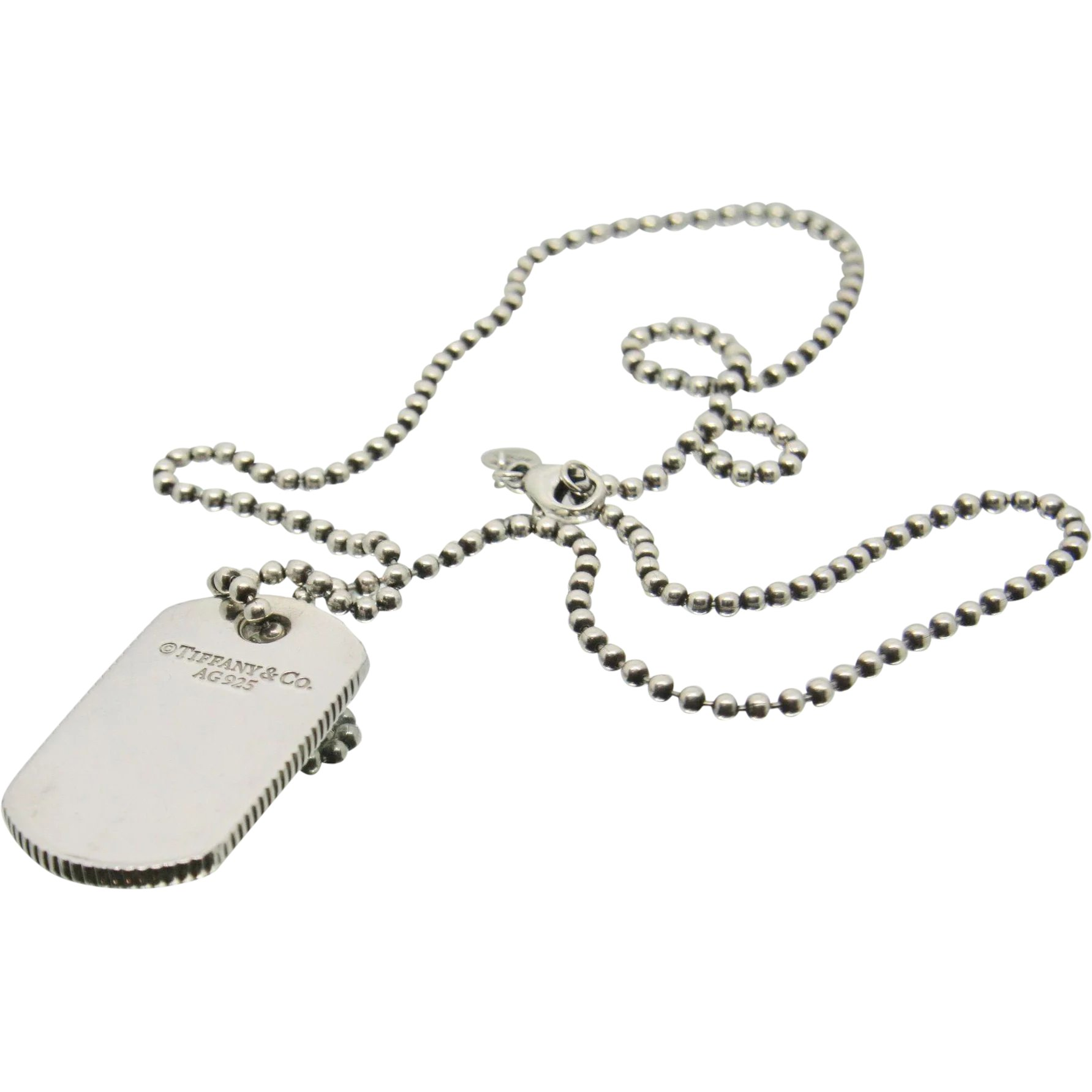 106d8d908 Tiffany & Co. Sterling Silver Dog Tag Necklace : Ecexchange | Ruby Lane