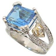 18k White Gold Emerald Cut Topaz & Diamond Ring~ 8.75