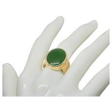 14k Gold Leaf Green Jade GUMPS Ring
