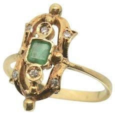 Antique 18k Gold Emerald & Diamond Fine Ring