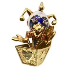 18k Gold Jack In The Box Moveable Pin/Brooch