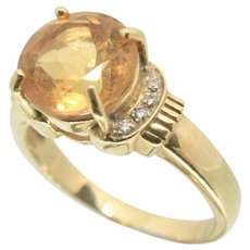 14k Gold Citrine & Diamond Ring~Size 8
