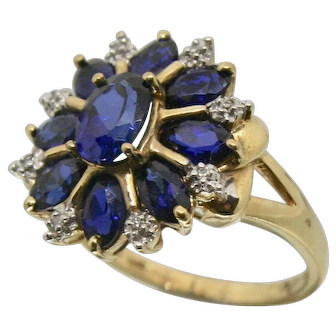 10k Gold Sapphire Ring with Diamond Accents