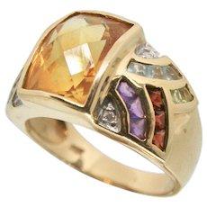 14k Gold JCR Multi Gemstone Ring~ Size 9.25