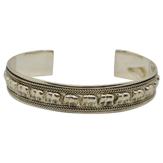 Sterling Silver Parade of Elephant Cuff Bracelet