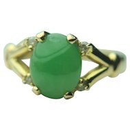 14k Solid Gold & Green Chrysoprase Cabochon with Diamond Accents Fine Ring