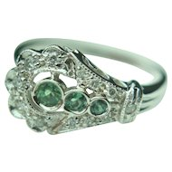 14k Solid White Gold, Spinel and Diamond Accent Ring - Belt Ring Style