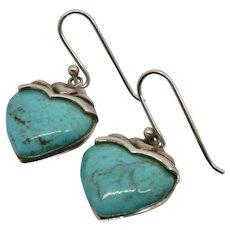 Sterling Silver Turquoise Heart Pierced Earrings