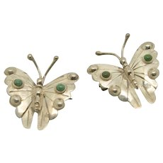 Pair of Sterling Silver Butterfly Pins/Brooches