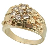 Vintage 14k Solid Yellow Gold Nugget Ring w/ 1.00 tcw Diamond Cluster - Heavy