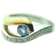18k Solid Two Toned Gold Tanzanite & Diamond Designer Ring