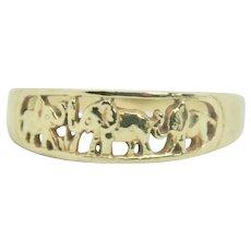 10k Yellow Gold Elephant Band Ring~ Size 9.5