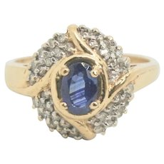 14k Gold Sapphire & Diamond Ring~ Size 7