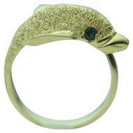 14k Yellow Gold Dolphin Wrap Around Fine Ring