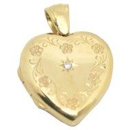 18k Gold CG & S Heart Locket with Diamond