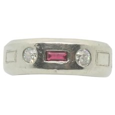 GRANAT Bros Palladium Ruby & Diamond Ring~ Size 7.5