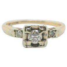 14k Gold Diamond Vintage Engagement/Wedding Ring~Size 6.5