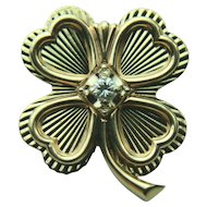 Vintage 14k Solid Gold Four Leaf Clover Shamrock & Diamond Pin