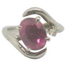 14k White Gold Pink Tourmaline & Diamond Ring~ Size 5.5