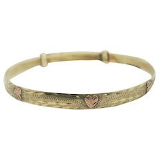 10k Gold Adjustable Bangle Bracelet with Rose Gold Hearts