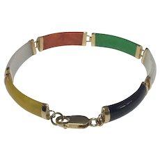 14k Yellow Gold Multi-Jade Bracelet~ 7 inches