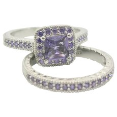 Sterling Silver & Purple Glass Two Ring Set~ Size 9