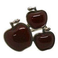 RLM Andy Warhol 3 Red Agate Sterling Apple Ring~ Size 7