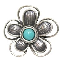 Or Paz Sterling Blue Turquoise Flower Ring~ Size 6