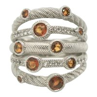Judith Ripka Sterling 5 Strand Citrine Ring~ Size 6.5