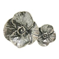 Or Paz Sterling Double Flower Ring~ Size 6
