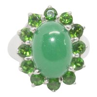 Sterling Silver Jade & Simulated Emerald Ring~ Size 8