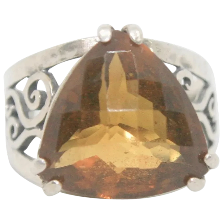 Trillion Cut Citrine Ring Size 7