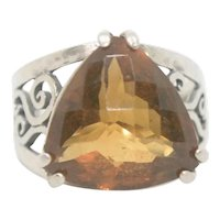 Or Paz Sterling Trillion Cut Citrine Ring~ Size 7