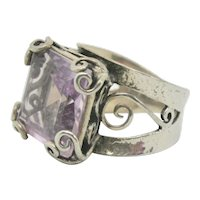 Or Paz Sterling Square Amethyt Sterling Ring~ Size 7