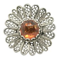 Sterling Round Amber DGS Turkey Ring~ Size 7.25