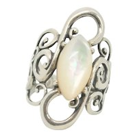 Carolyn Pollack Relios Coronation Sterling Mother of Pearl Ring~ Size 6