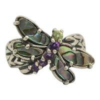 Carolyn Pollack Relios Abalone, Amethyst & Peridot Dragonfly Ring~ Size 7