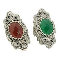 Set of 2 Sterling Filigree Rings with Garnet & Emerald Stones~ Size 7