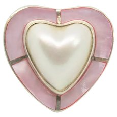 Sterling Mother of Pearl Heart Ring~ Size 7