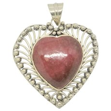 Sterling Pink Rhodonite Heart Pendant