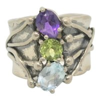 Or Paz Sterling Gemstone Ring~ Size 7.5