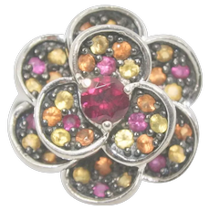 Sterling Gemstone Flower Ring~ Size 6